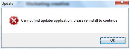 Cannot find updater application error message