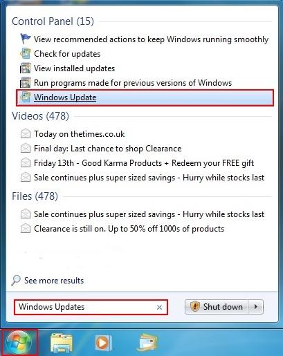 Windows 7 Windows Updates Start Menu