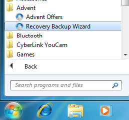 Recovery Backup Wizard in Windows 7 Start Menu