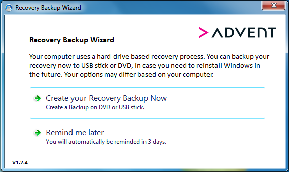 Recovery Backup Wizard Start Screen