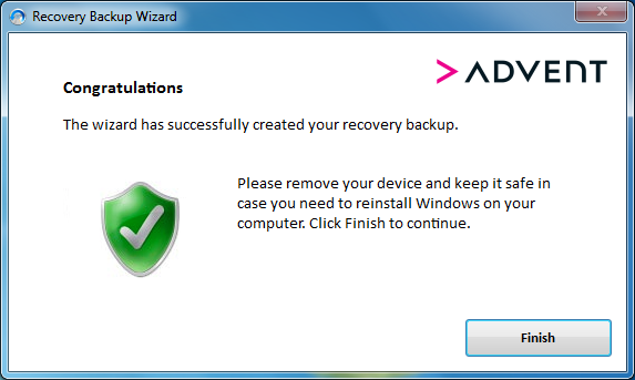 Recovery Backup Wizard Complete Screen