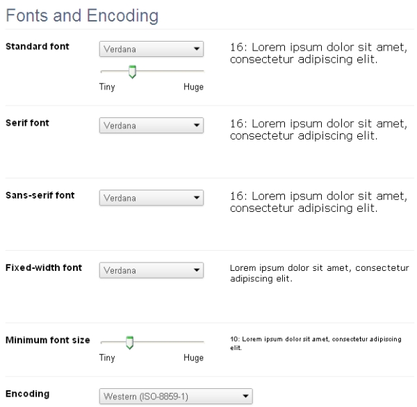 fonts and encoding chrome