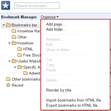 Chrome bookmarks manager