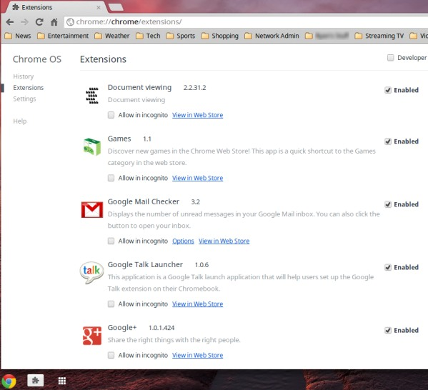 Chrome extensions in the OS