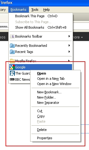 Firefox delete bookmarks
