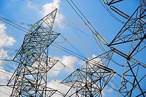 electrical tower with blue skies