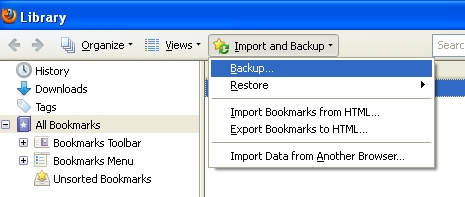 Firefox Bookmark Backup