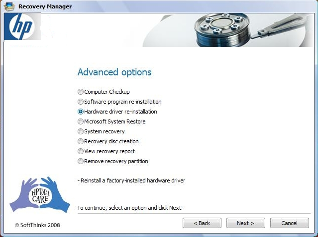 HP Recovery Manager Advanced Options Screen