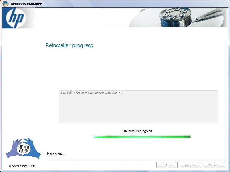 HP Recovery Manager Driver Installation Progress Screen