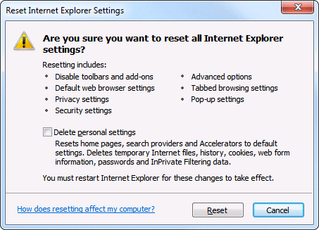 Internet Explorer reset settings