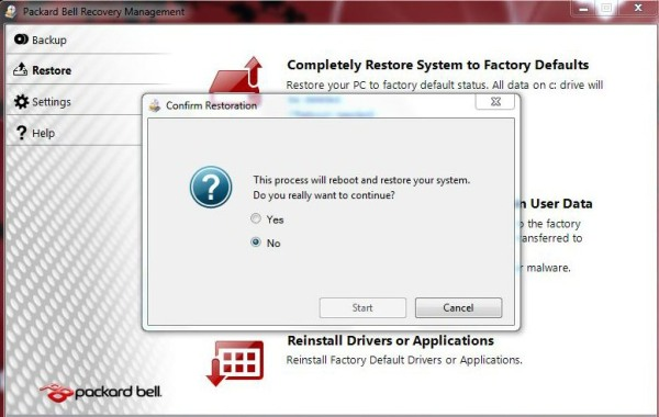 packard bell complete computer restore