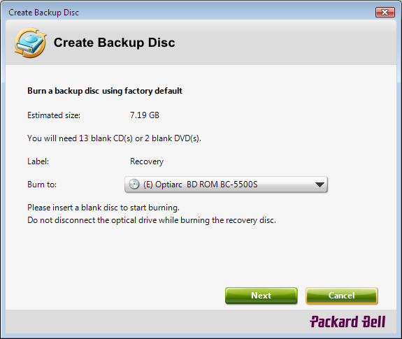 Packard Bell Create Backup Disc