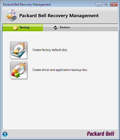 Packard Bell Recovery Management