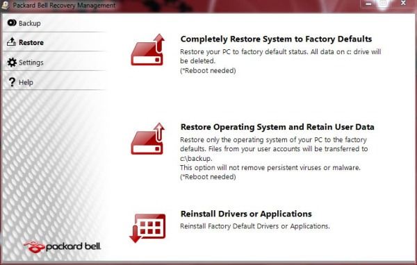 packard bell recovery drive