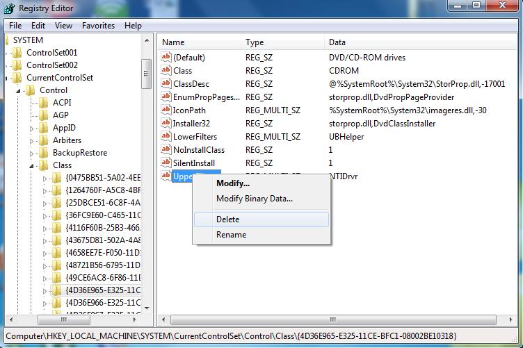 Windows cd dvd registry editor