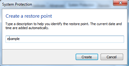 create a restore point in windows 7