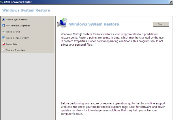 Sony VAIO recovery center windows system restore