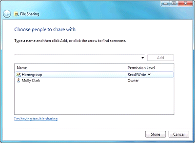 Windows 7 Share People file sharing