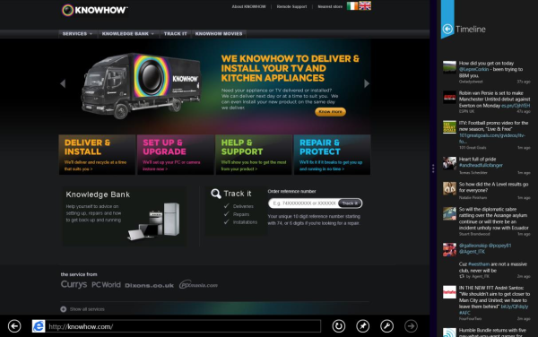 Windows 8 Knowhow website in internet explorer 10