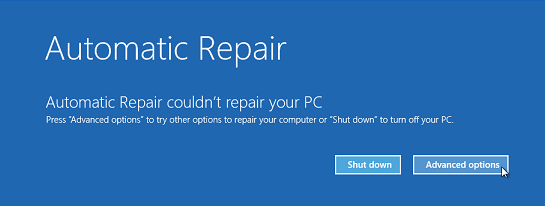 Windows 8 Automatic Repair screen