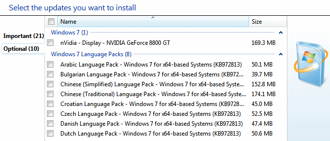 windows select updates to install vista