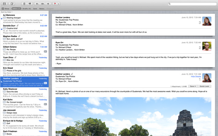 Apple using the email application