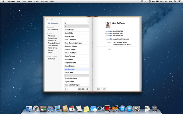 Apple contacts application in use