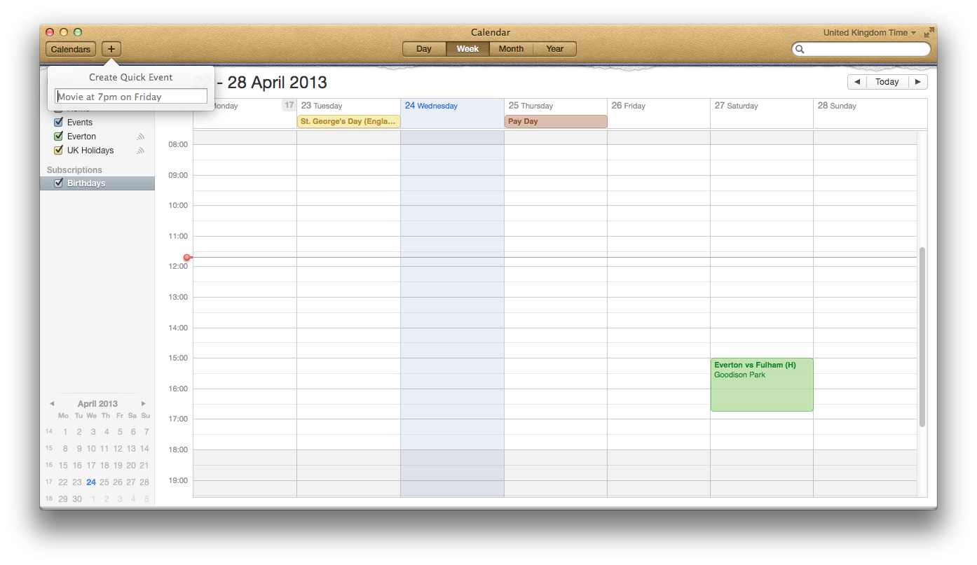 Apple Calendar application example