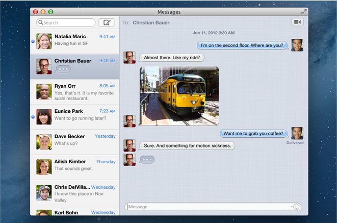using apple messages application