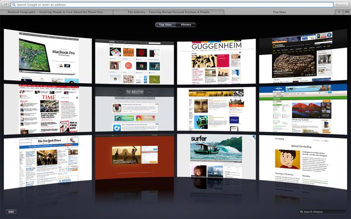 Safari home screen