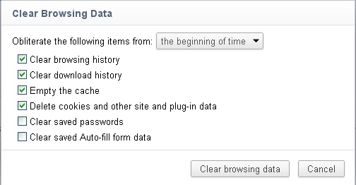 clear browsing data from the beginning of time