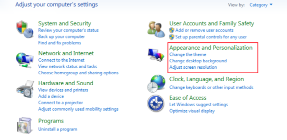 Appearance and Personlaization in windows 7