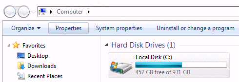 local disk menu in windows 7