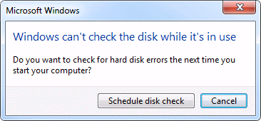 Schedule disk check message on windows 7