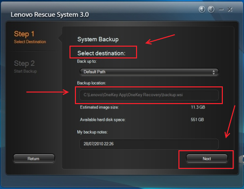 Lenovo Rescue System Select Destination
