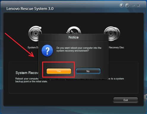 Lenovo restart computer system recovery