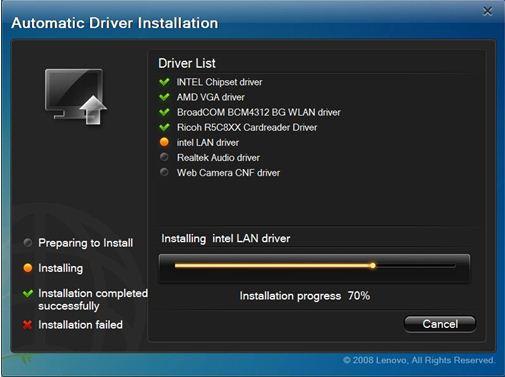 automatic driver installation lenovo driver list
