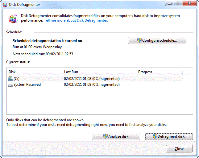 Running Disk Defragmenter on a Windows 7 computer
