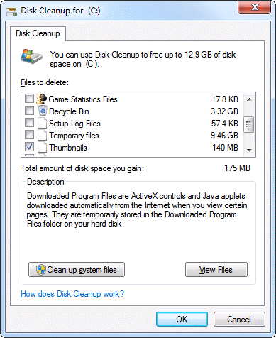 Disk Cleanup maintenance tool in Windows 7