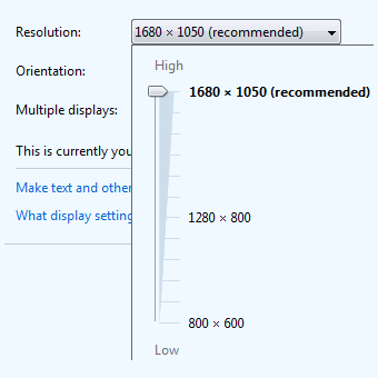 monitor resolution dropdown box