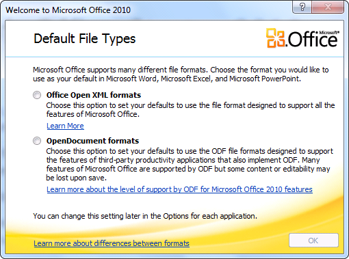 Microsoft Office 2010 Default File Types