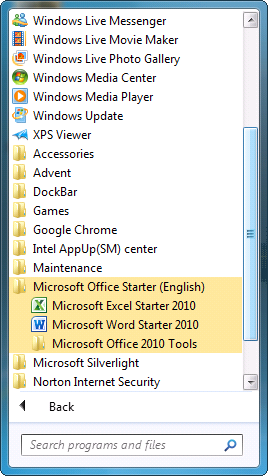 Office 2010 Programs Menu