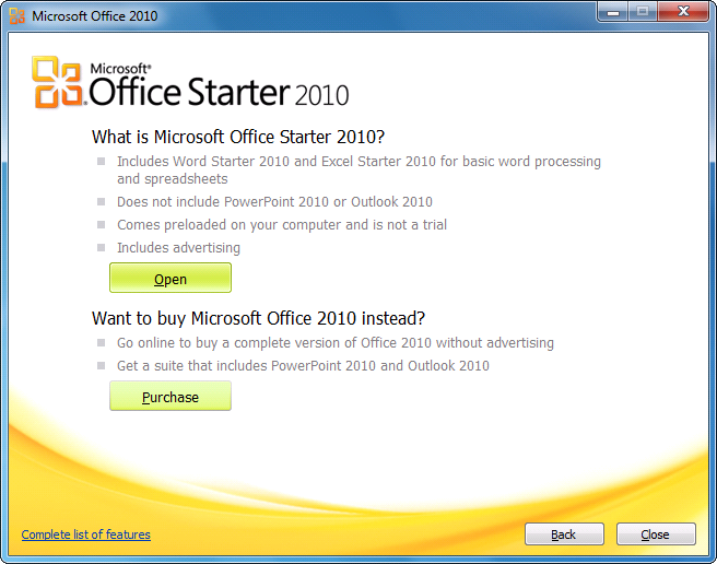 Open Microsoft Office 2010