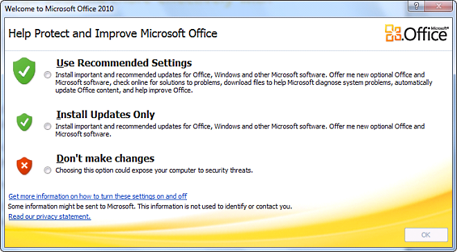 Microsoft Office 2010 Settings