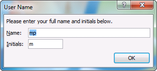 Office 2010 User Name Windows