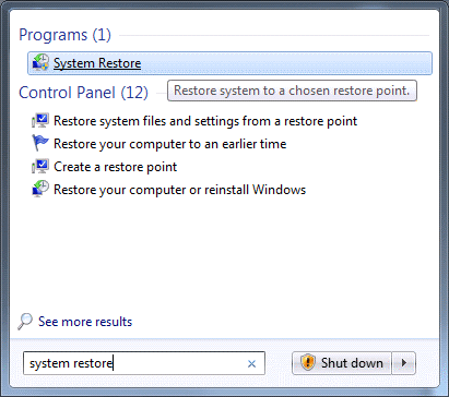 Windows 7 start menu showing search results for System Restore