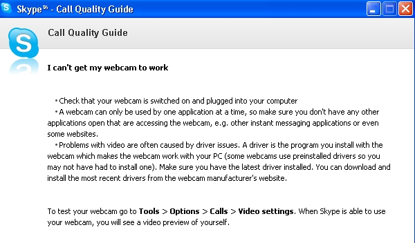 skype webcam will not work call quality guide
