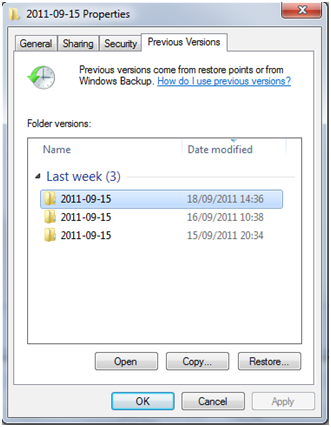 Windows previous versions of deleted file