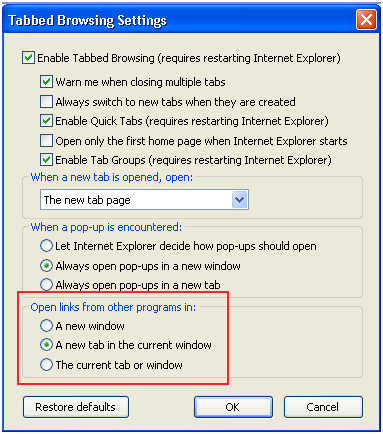 tabbed browing settings in internet explorer