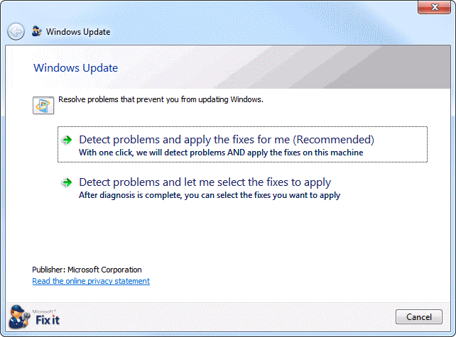 detect problems with windows update